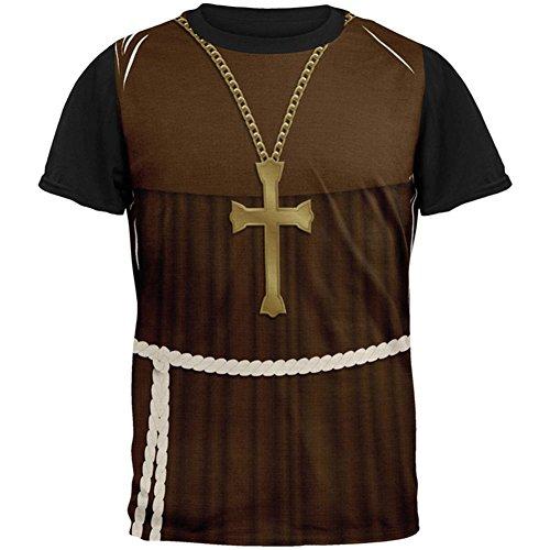 Halloween Edwardian Mönch Kostüm in aller Herren Schwarz T Shirt Multi LG (Männer Für Edwardian Kostüme)
