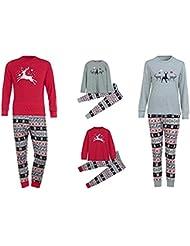 Conjunto de Pijamas Familiares de Navidad,LILICAT Ropa Familiar a Juego para la familia del Padre y la Madre y el Bebé- Blusa Manga Larga de Ciervo + Pantalones,Traje de Ropa de Mujer Hombre Niños (Papá: XL, Rojo)