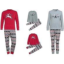 Conjunto de Pijamas Familiares de Navidad,LILICAT Ropa Familiar a Juego para la familia del Padre y la Madre y el Bebé- Blusa Manga Larga de Ciervo + ...