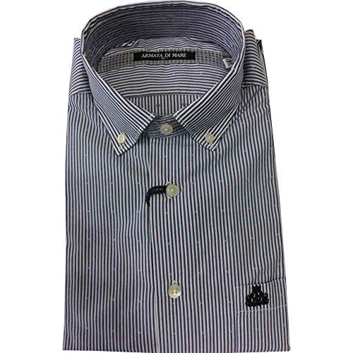 Camicia Armata di mare 0874 uomo - Camicia botton down 100% cotone, royal blu (42)