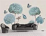 BZDHWWH Benutzerdefinierte Tapete Wandbild Europäischen 3D Stereo Hortensie Schmetterling Hintergrund Wand Dekorative Malerei 3D Tapete Tapety,210Cm (H) X 315Cm (W)