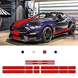 Autocollant de Décalque de Vinyle Bande Latérale de Corps de Voiture pour F ORD Mustang 2015-2017 Voiture Bande Longue Sticker Rouge 2 Pièces