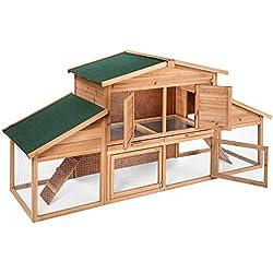 TecTake XXL Conejera doble con bandeja de zinc jaula para conejos o liebres domésticas 230 x 74,5 x 96,5 cm