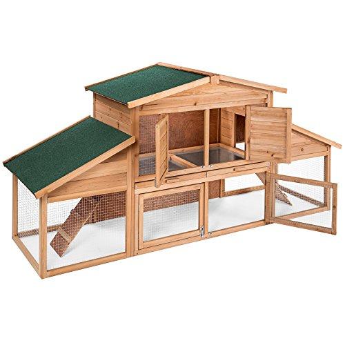 Tectake xxl conigliera a due piani con vasche in zinco gabbia legno per conigli animali 230 x 74,5 x 96,5 cm