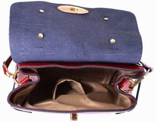 Damenhandtasche / -schultertasche aus Lackleder mit abnehmbarem Tragegurt (schwarz, blau, rot, violett) Rot