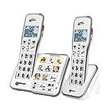 Geemarc AmpliDECT 595 DUO : 2 schnurlose verstärkte 50 dB Schwerhörigentelefone mit Fototasten, Anrufbeantworter, Sprachansage und SOS Taste - Deutsche Version