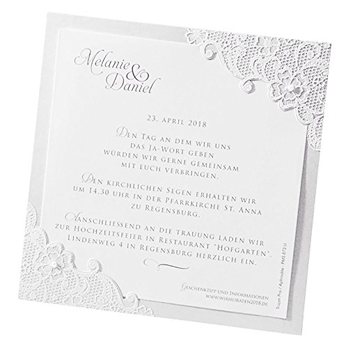 ... Klassische Einladungskarten Jana, 3 Stück, Für Die Hochzeit, Creme Mit  Flockdruck   Blanko ...
