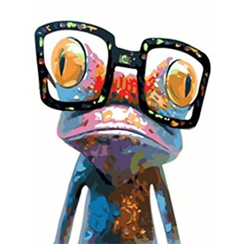 KAYI Cool Frog avec lunettes Peinture à l'huile par numéros Kit - Kits de peinture à l'huile de bricolage pour adultes, juniors, enfants - Artisanat à la main Peinture Décor à domicile