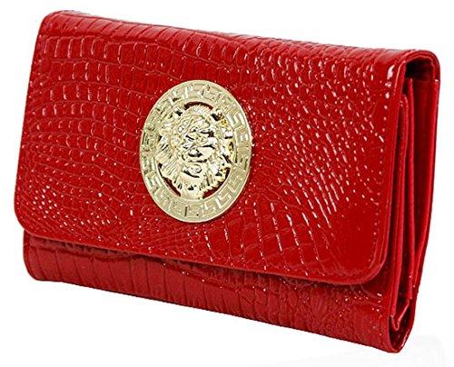 Kukubird Lion médaillon Crocodile Texture Matinee grand sac à main Red Purse