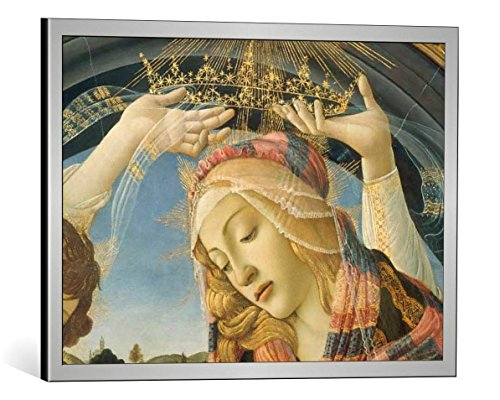 Kunst für Alle Cuadro con Marco: Sandro Botticelli Mary with Child and Five Angels - Impresión artística Decorativa con Marco, 55x40 cm, Plata cepillada