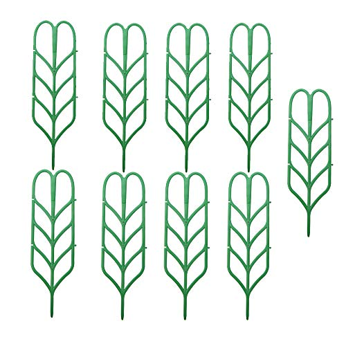 Cozywind supporto per piante da giardino, y mini supporto per piante rampicanti a forma di foglia per fai da te pianta in vaso di avvolgimento climbing diy garden verde confezione da 9