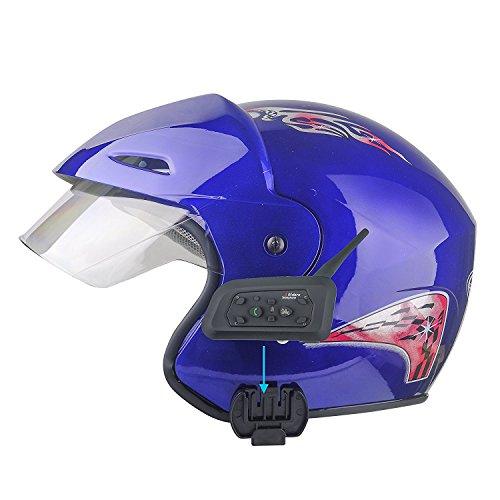 Evary (2 Pack) Bluetooth Interphone Waterproof Motorcycle Motorbike Helmet Intercom Headset for 6 Riders 1200M with 8 Hours Talk Time