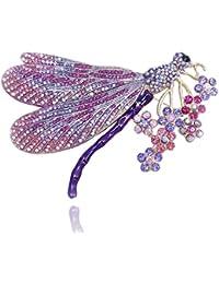 TENYE Austrian Crystal Enamel Elegant Dragonfly with Flower Cluster Brooch 3EV7vYHVU
