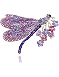 TENYE Austrian Crystal Enamel Elegant Dragonfly with Flower Cluster Brooch