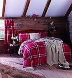 Catherine Lansfield Kelso - Set con copripiumino per letto singolo, colore: rosso