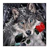 Demarkt 5D Diamant Full Malerei DIY 5D Diamant Malerei Diamant Malen Nach Zahlen Kits Wolf und Rose