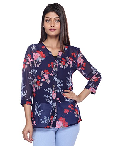 LUCKY CHARM Women Dark Blue Printed Casual Shirt  available at amazon for Rs.299