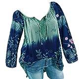 MEIbax Frauen V-Ausschnitt Spitze Bedruckte Bandage Long Sleeves Plus Size Tops Damen lose Bluse Oberteile Blumendruck Hemd
