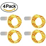 XERGY 20 LED 2 Meters Starry String Lights Battery Powered(included) , Fairy Lights Battery Operated By 2x CR2032 Large Beads Copper Wire Lights For DIY Gift Box Decorations Dress Warm White [Pack Of 4]