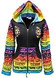 Shopoholic Moda Da Donna Patchwork Cappuccio Da Elfo Arcobaleno Motivo Giacca,Hippy - MIX NERO, X-Large