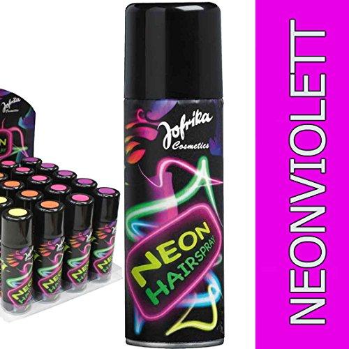 Amakando 80er Jahre Haarspray Disco Farbspray neonviolett Neonfarbenes Hairspray Neon Spray Karneval Accessoires Mottoparty Neonspray Silvester Motto Party Haar ()