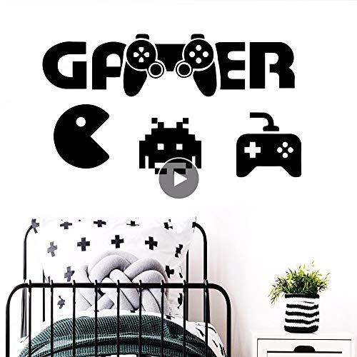 Dwqlx Erstaunliche Pacman Gamer Wandkunst Aufkleber Moderne Wandtattoos Vinyls Jungen Zimmer Spiel Raumdekoration Tapete Spiel Wandbilder 43 * 79 Cm