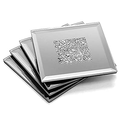 Classy Lustre Silver Glitter Sparkle Mirrored Coaster Set Of 4