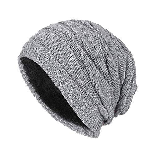 mütze Draussen Wolle stricken Warmer Hut Dick Weich Mütze Long Slouch Beanie Strickmütze für Outdoor mit Fleecefutter Ski Kappen Herrenmütze (44~60cm, Grau#) ()