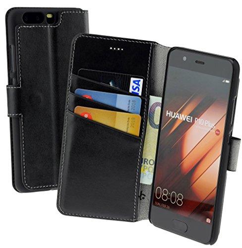 Suncase Book-Style (Slim-Fit) für Huawei P10 PLUS Ledertasche Leder Tasche Handytasche Schutzhülle Case Hülle (mit Standfunktion und Kartenfach) schwarz