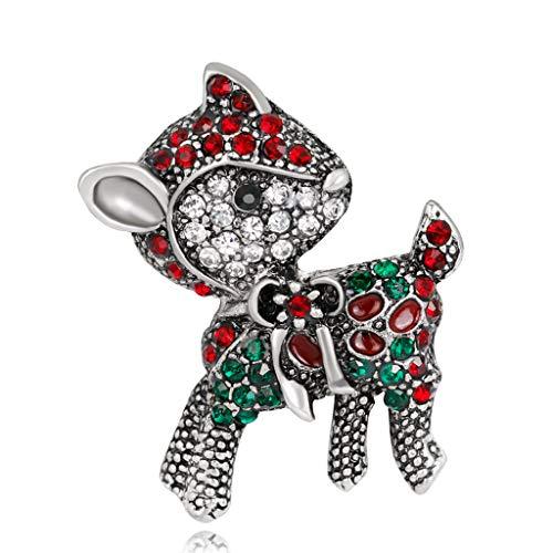 GROOMY Broches de Navidad Ciervos Animales Encantos Moda Invierno Regalos de joyería creativos - Plata