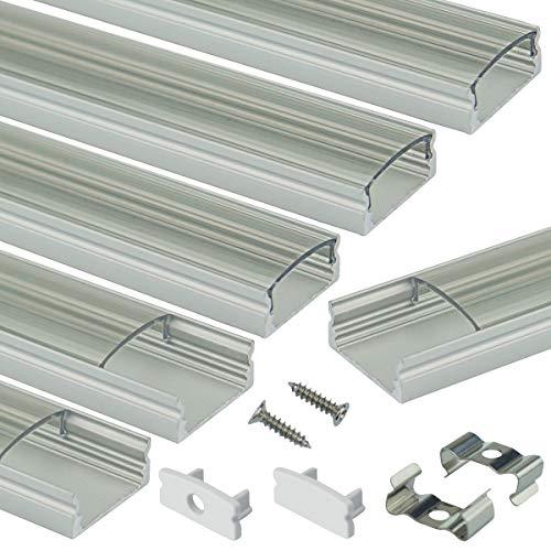 Muzata LED-Aluminium-Kanalsystem mit transparenter Abdeckung, transparentes Aluminiumprofilprofil für Lichtstreifen, Diffusor-Segmente, 9 x 17 mm, 6 Stück