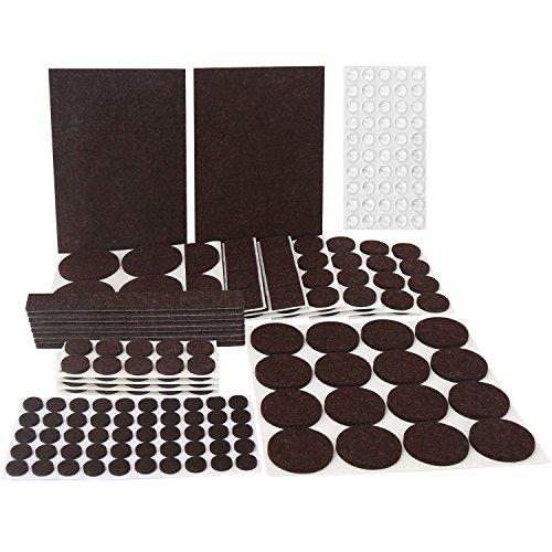 246 Piezas Almohadillas para Muebles & 50 Piezas Topes Adhesivos Transparentes, Fieltro Autoadhesivos, 9 Tamaños, Cortar a La Medida, para Proteger Muebles, Sillas y Mesas