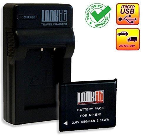 LOOKit® Set inkl. LOOKit® Ladegerät + 1x LOOKit® Akku für BN1 / 650mAh passend zu: Sony QX30 / Sony DSC-WX220 / Sony Cyber-shot DSC-WX220 / DSC-W830 / DSC- W810 / Sony DSC QX10 / Sony QX100 / DSC-WX200 / DSC-TF1 / DSC-W730 / DSC-W710 / DSC-WX80 / DSC-WX60 / DSC-WX60 / DSC-WX80/ wx200 / WX60, W730, W710 DSC W610 / W620 / W630 / W650 / W670 / W320 / W350 / W290 / W180 / W510 / W530 / W550 / W560 / W570 / W580 / HX20V / WX100 / DSC-TX20 / DSC-WX150 Cyber-shot Camcorder