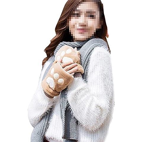 Butterme Zampa peluche mezze dita Guanti senza dita Butterme calda inverno svegli del gatto per le donne