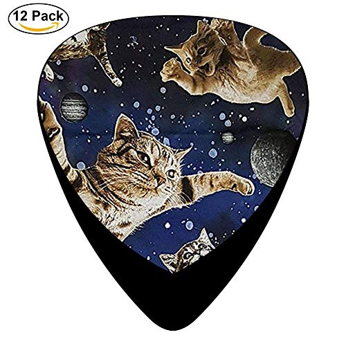 12-Pack Celluloid Kitty Cats Flying in Space Guitar Picks