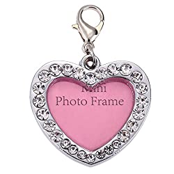 Rrimin Pet Dog Name Card Anti Lost Dog ID Address Name Label Tag (Love Heart Shaped)