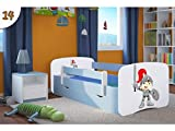 Kocot Kids Kinderbett Jugendbett 70x140 80x160 80x180 Blau mit Rausfallschutz Matratze Schublade und Lattenrost Kinderbetten für Junge - Ritter 180 cm