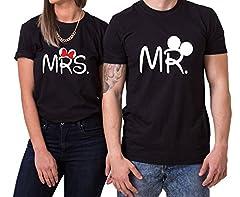 Idea Regalo - Mister Misses T-Shirt Partnerlook Coppia Imposta Dolce per Le Coppie Come Regali, Größe2:4XL;Partner Shirts:Herren T-Shirt Weiß