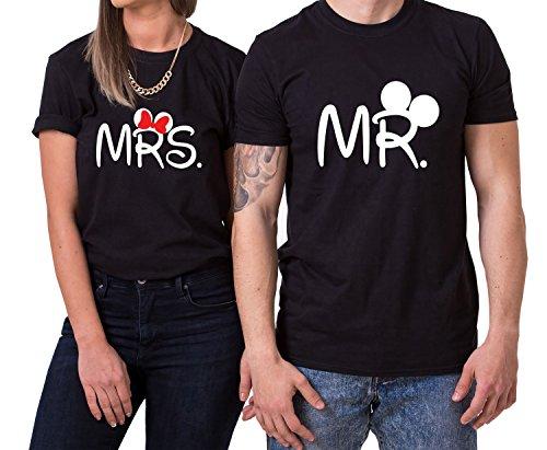 Mister Misses Partnerlook Camiseta de los Pares Dulce para Parejas como Regalos, Größe2:S;Partner Shirts:Damen T-Shirt Schwarz