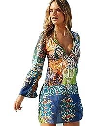 Oyedens Damen Langarm Kleid, Frauen Chiffon Strandkleid Sommerkleid Damen  Tshirt Kleid Rundhals Kurzarm Minikleid Kleider f0f4d0adce