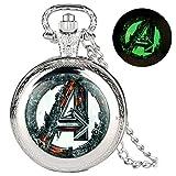Reloj de Bolsillo de Cuarzo Plateado de la Serie Avengers Alliance, clásico, con Esfera Blanca, Cadena de eslabones