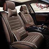 YE Leinen Autositzbezug 5 Sitze Komplett-Set Bequem Atmungsaktiv Leinen Vier Jahreszeiten Universell Autositzkissen (Farbe : Kaffee)