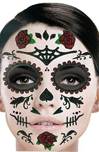 Brandsseller Gesichts-Tattoo Tag der Toten Rosen - Aufkleber Set Klebetattoos Temporäre Tattoos Halloween/Karneval