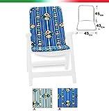Kissen Abdeckung Stuhl Universal weich gerillt Marino faltbar Stoff Baumwolle für Pool Meer Garten Mod.Capri blau