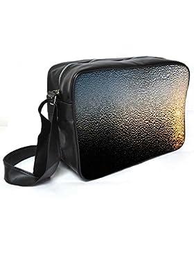 Snoogg schwarz Wasser Tropfen Leder Unisex Messenger Bag für College Schule täglichen Gebrauch Tasche Material PU