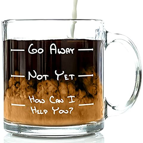 Go Away Funny Glass Coffee Mug 390 ml - Unique Birthday Gift For Men & Women, Him or Her - Best Office Cup & Christmas Present Idea For Mum, Dad, Husband, Wife, Boyfriend, Girlfriend or