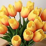 kingtoys® 10PCS PU Mini Tulip Fiore Artificiale Real Touch Latex Tulipano per la cerimonia nuziale per la decorazione domestica (Arancio)