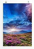 Eau Zone Home Bild - Landschaft Natur – Blumenwiese in den Bergen Ukraine- Poster Fotodruck in höchster Qualität