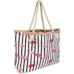 styleBREAKER XXL Strandtasche mit Streifen Flamingo Print und Reißverschluss, Schultertasche, Shopper, Damen 02012252