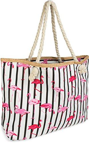 7fcf52fb8c29e styleBREAKER XXL Strandtasche mit Streifen Flamingo Print und Reißverschluss